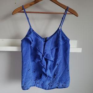 Urban Outfitters Silk Blue Splatter Ruffle Tank